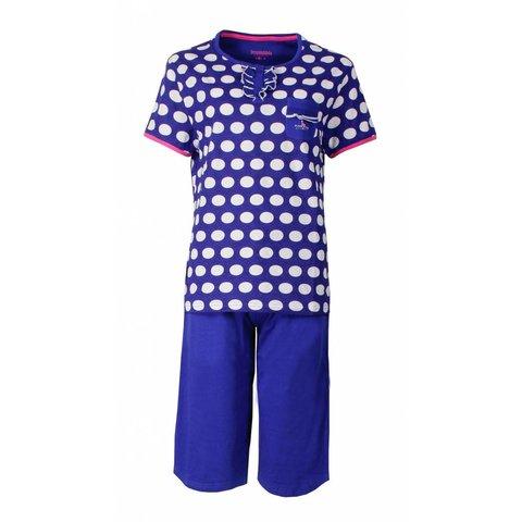 Irresistible Dames Pyjama Blauw gestipt en driekwart broek IRPYD1503A