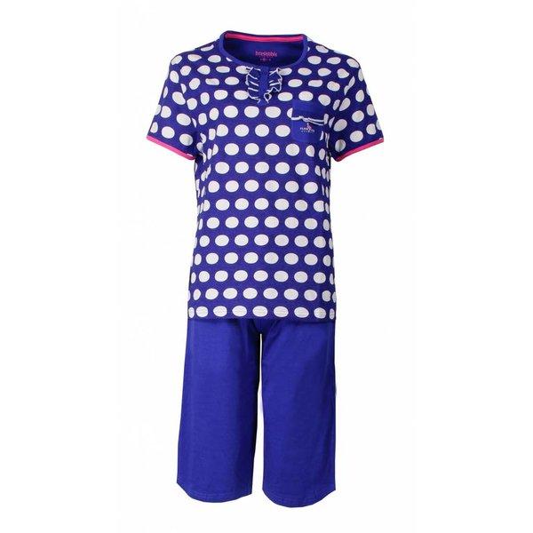 Irresistible Irresistible Dames Pyjama Blauw gestipt en driekwart broek IRPYD1503A