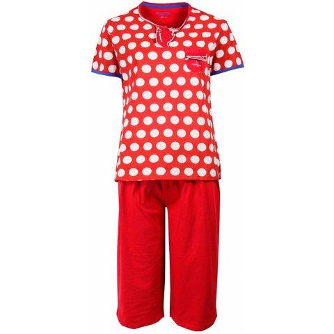Irresistible Dames Pyjama Rood gestipt en driekwart broek IRPYD1503B