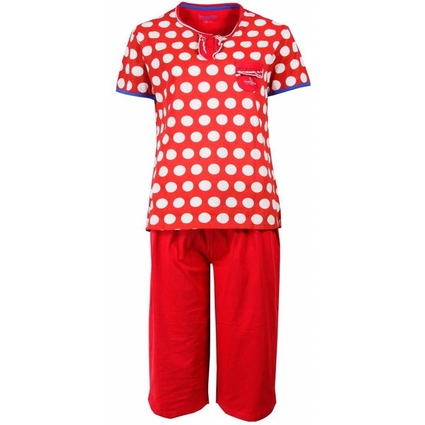 Irresistible Irresistible Dames Pyjama Rood gestipt en driekwart broek IRPYD1503B