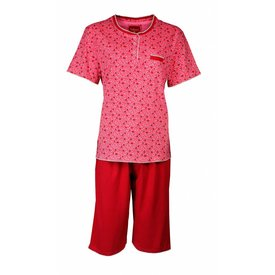 Tenderness Tenderness dames shortama met bermuda broek Rood -TESAD1703B
