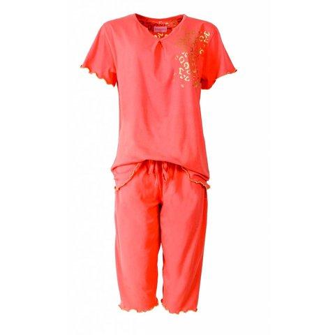 Irresistible Dames Pyjama Oranje met driekwart broek IRPYD1412A