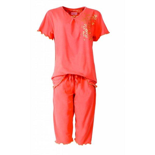 Irresistible Irresistible Dames Pyjama Oranje met driekwart broek IRPYD1412A