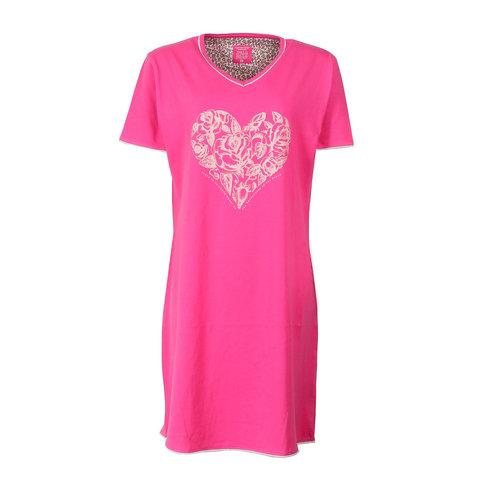 Tenderness Dames Nachthemd Roze Hart Print TENGD1609A