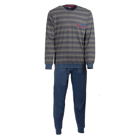 Paul Hopkins Heren Pyjama gestreept Blauw- PHPYH2707B