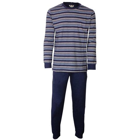 MEQ Heren Pyjama gestreept Blauw- MEPYH1806A