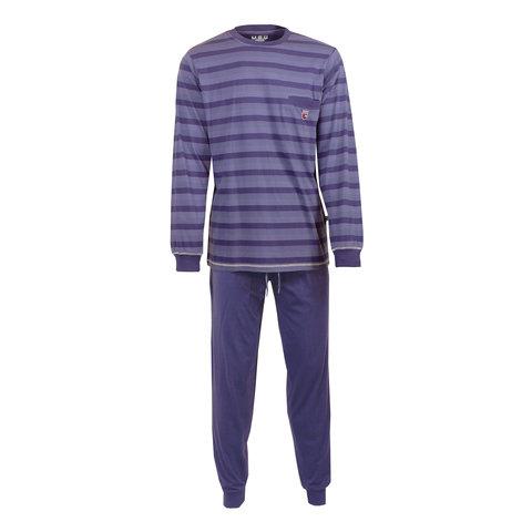 MEQ Heren Pyjama gestreept Blauw- MEPYH2701A