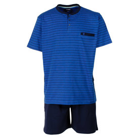 Paul Hopkins Paul Hopkins heren shortama fijne streep Blauw-PHSAH1613B