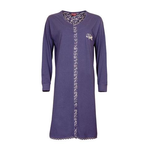 Medaillon dames doorknoop nachthemd Indigo Blauw MENGD2709A