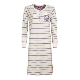 Medaillon Medaillon dames nachthemd crème kleurig gestreept MENGD2708B