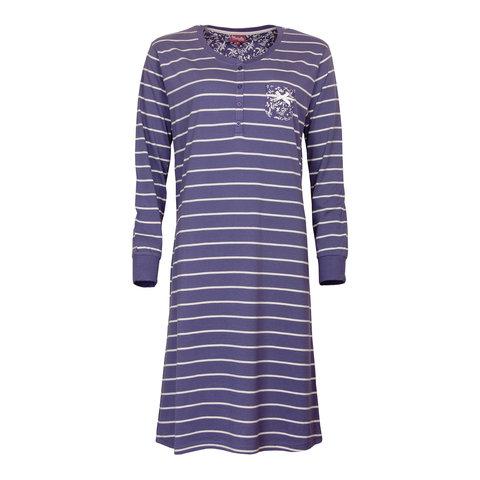 Medaillon dames nachthemd blauw gestreept MENGD2708A