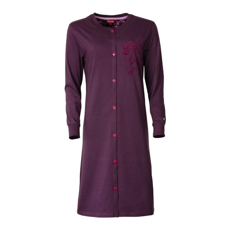 Medaillon dames doorknoop nachthemd donker paars MENGD2602A