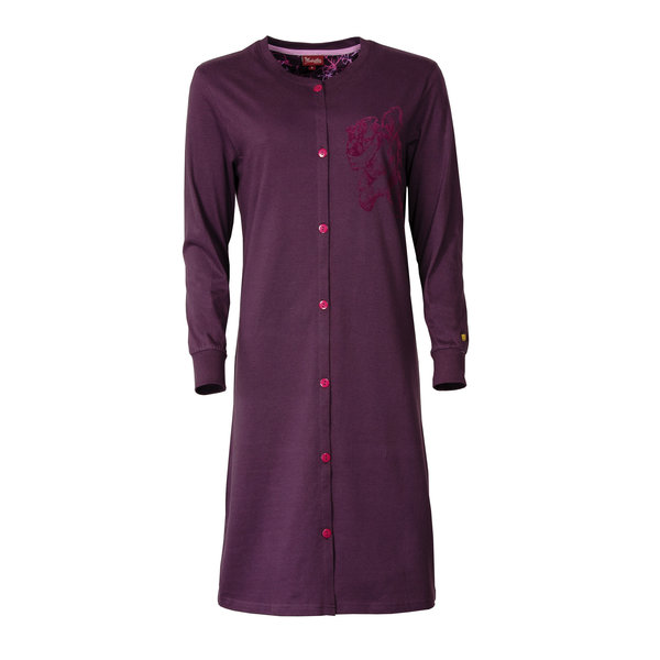 Medaillon Medaillon dames doorknoop nachthemd donker paars MENGD2602A