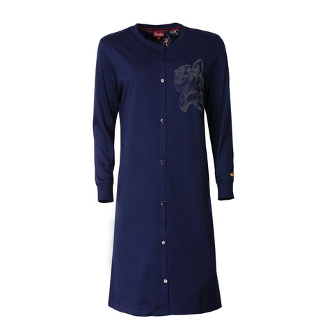 Medaillon dames doorknoop nachthemd Blauw MENGD2602B