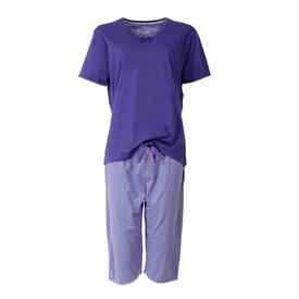 Medaillon Medaillon dames pyjama drie kwart broek Blauw MEPYD1402A