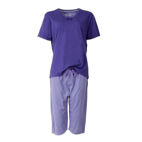 Medaillon dames pyjama drie kwart broek Blauw MEPYD1402A