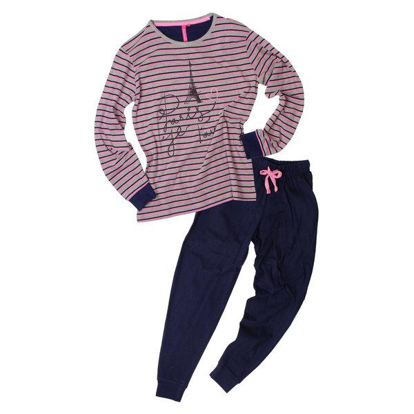 AnnaRebella Sportieve meisje pyjama met gestreepte top Blauw ANPYM2603A