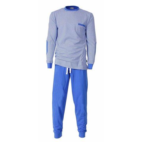 MEQ Heren Pyjama gestreept Licht Blauw- MEPYH1406A