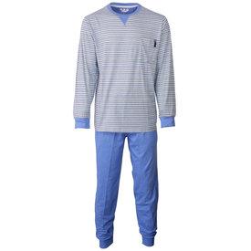M.E.Q MEQ Heren Pyjama gestreept Blauw- MEPYH1802A