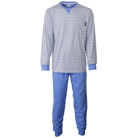 MEQ Heren Pyjama gestreept Blauw- MEPYH1802A
