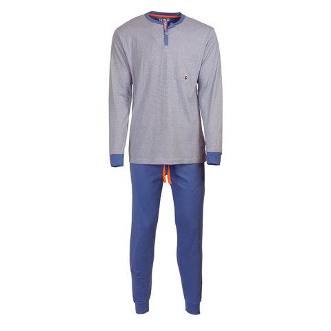 M.E.Q. Heren pyjama licht blauw streepje MEPYH1809A