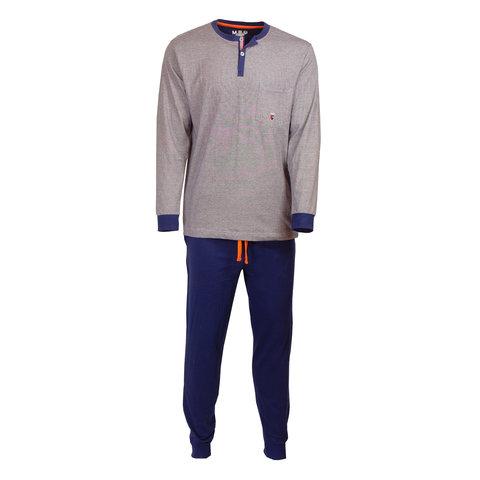 M.E.Q. Heren pyjama donker blauw streepje MEPYH1809B
