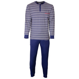 M.E.Q M.E.Q. Heren pyjama Blauw Grijs gestreept MEPYH1803A