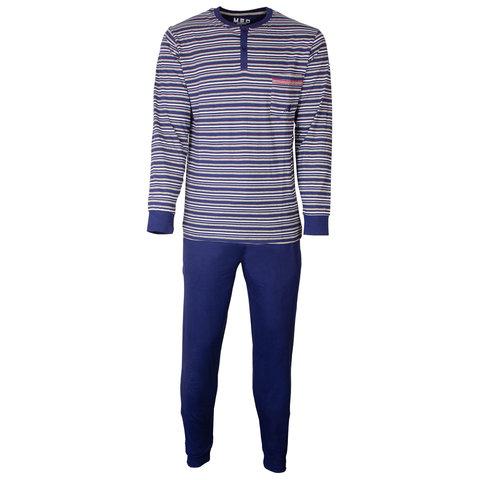 M.E.Q. Heren pyjama Blauw Grijs gestreept MEPYH1803A