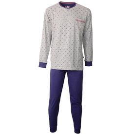Merkloos M.E.Q. Heren pyjama Grijs Melange-Blauw MEPYH1804A