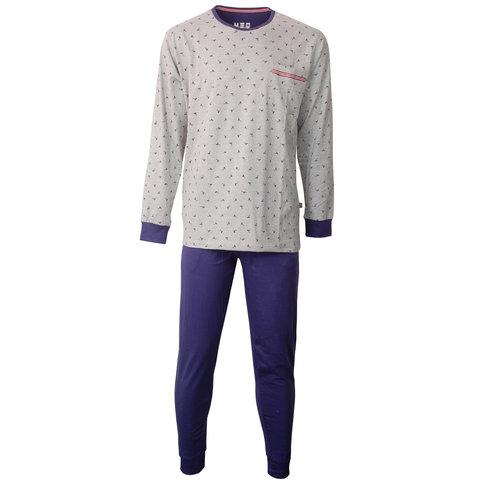 M.E.Q. Heren pyjama Grijs Melange-Blauw MEPYH1804A