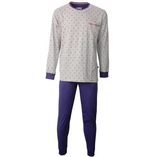 M.E.Q M.E.Q. Heren pyjama Grijs Melange-Blauw MEPYH1804A