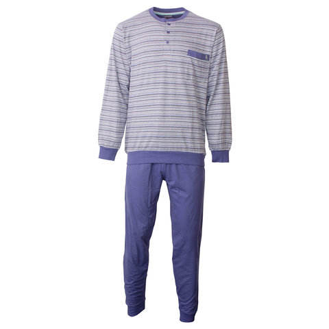 Paul Hopkins heren pyjama gestreept Blauw PHPYH1806A