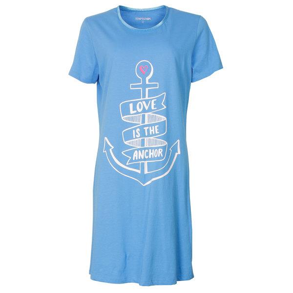 Temptation Temptation  Dames Bigshirt nachthemd slaapkleed Blauw TPNGD1816A