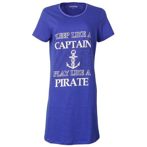 Temptation  Dames Bigshirt nachthemd slaapkleed Kobalt Blauw TPNGD1821A