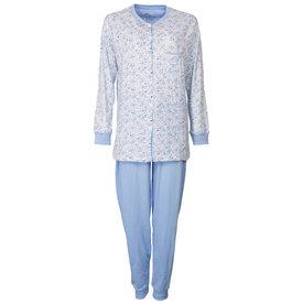Medaillon Medaillon Dames Pyjama Bloem doorknoop ziekenhuis Blauw MEPYD1801A