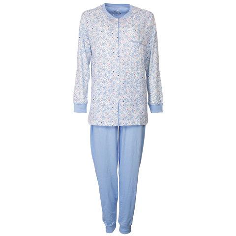 Medaillon Dames Pyjama Bloem doorknoop ziekenhuis Blauw MEPYD1801A