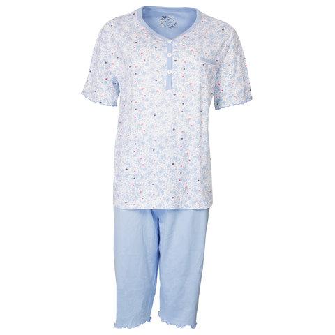 Medaillon Dames drie kwart Pyjama Blauw MEPYD1803A