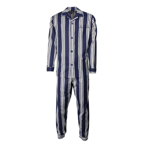Paul Hopkins Heren pyjama doorknoop strepen  blauw ziekenhuis  PHPYH2610A