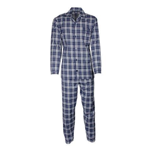 Paul Hopkins Heren pyjama doorknoop ruiten blauw-grijs ziekenhuis  PHPYH2719A