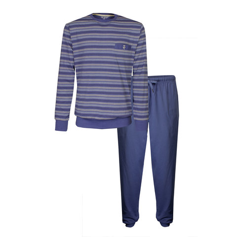 Paul Hopkins Heren Pyjama Indigo Blauw strepen dessin PHPYH1904A