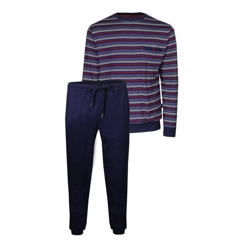 Paul Hopkins Heren Pyjama Donker Blauw strepen dessin PHPYH1904B