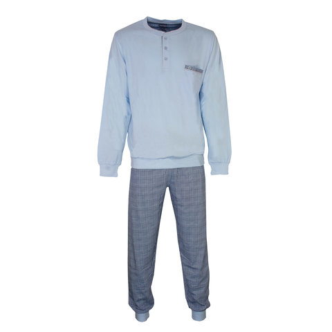 Paul Hopkins Heren Pyjama Licht Blauw geprint ruit dessin PHPYH2809A