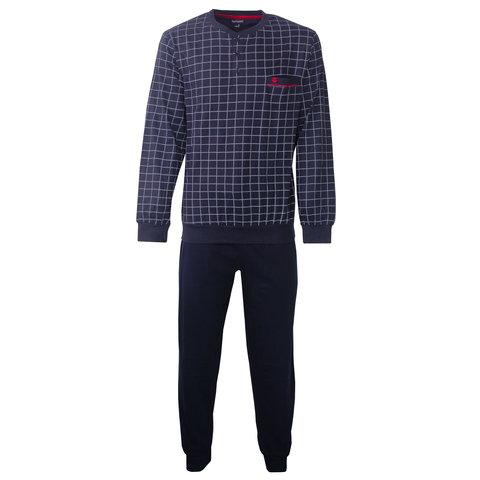 Paul Hopkins Heren Pyjama Donker Blauw geprint ruit dessin PHPYH2805A