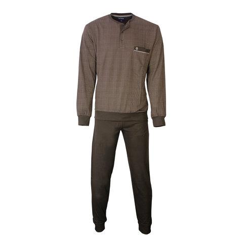 Paul Hopkins Heren Pyjama Bruin geprint ruit dessin PHPYH2808B