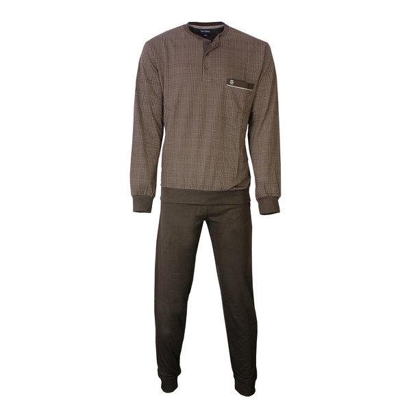 Paul Hopkins Paul Hopkins Heren Pyjama Bruin geprint ruit dessin PHPYH2808B