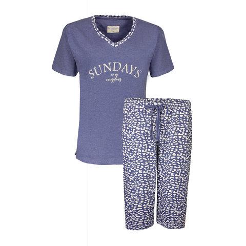 Irresistible Dames Pyjama Blauw met driekwart broek IRPYD1902A