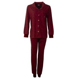 Medaillon Medaillon Dames Pyjama doorknoop ziekenhuis  Bordeaux Rood  MEPYD2801B
