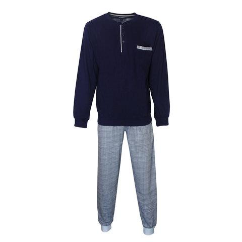 Paul Hopkins Heren Pyjama Donker Blauw geprint ruit dessin PHPYH2809B