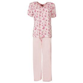 Medaillon Medaillon Dames Pyjama korte mouw gebloemd Roze MEPYD1106A
