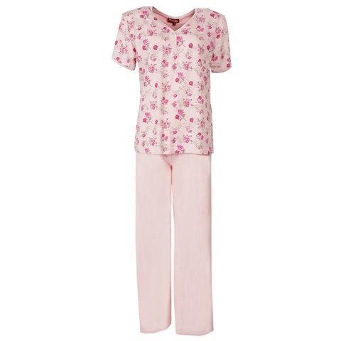 Medaillon Dames Pyjama korte mouw gebloemd Roze MEPYD1106A